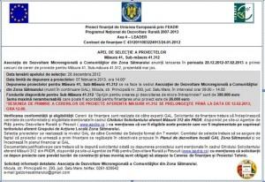 Anunt prelungire depunere proiecte, masura 41.312