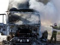 Un tir din Ucraina a luat foc la Huta Certeze