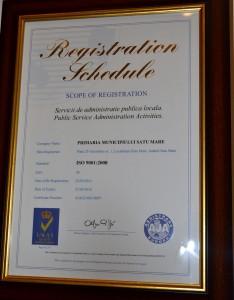 certificat ISO, primaria Satu Mare