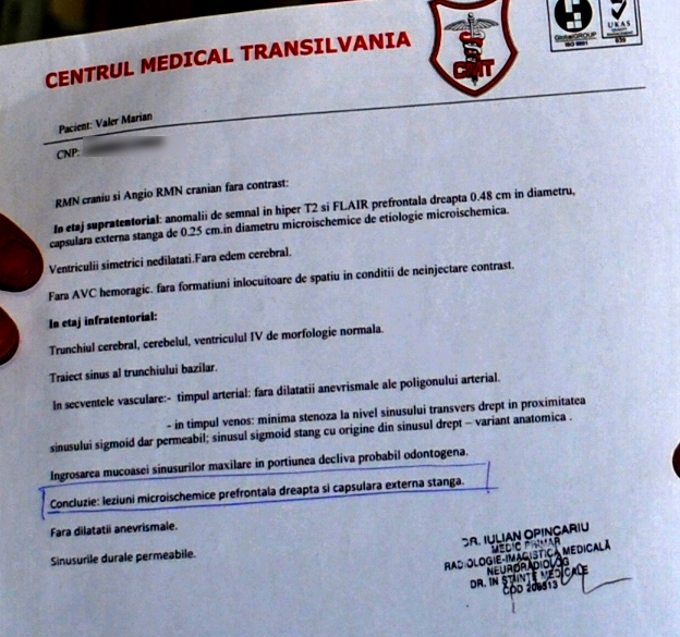 Valer Marian, certificat medical