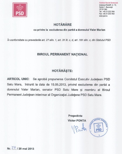 document excludere valer marian