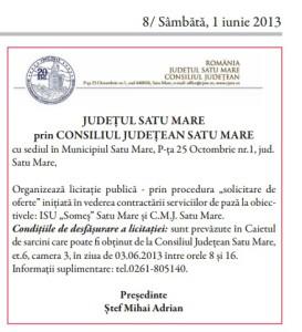 licitatie paza consiliul judetean