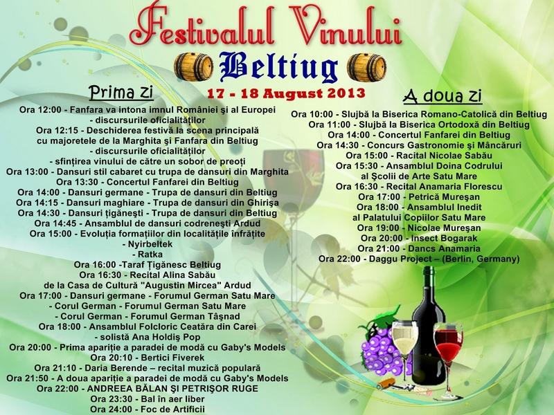 Poster festivalul vinului program