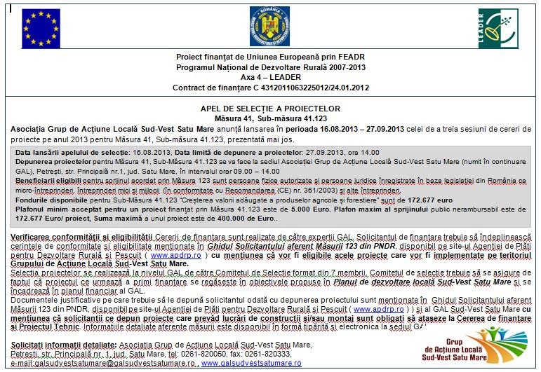 Gal Sud-Vest Satu Mare, apel selectie, masura 123