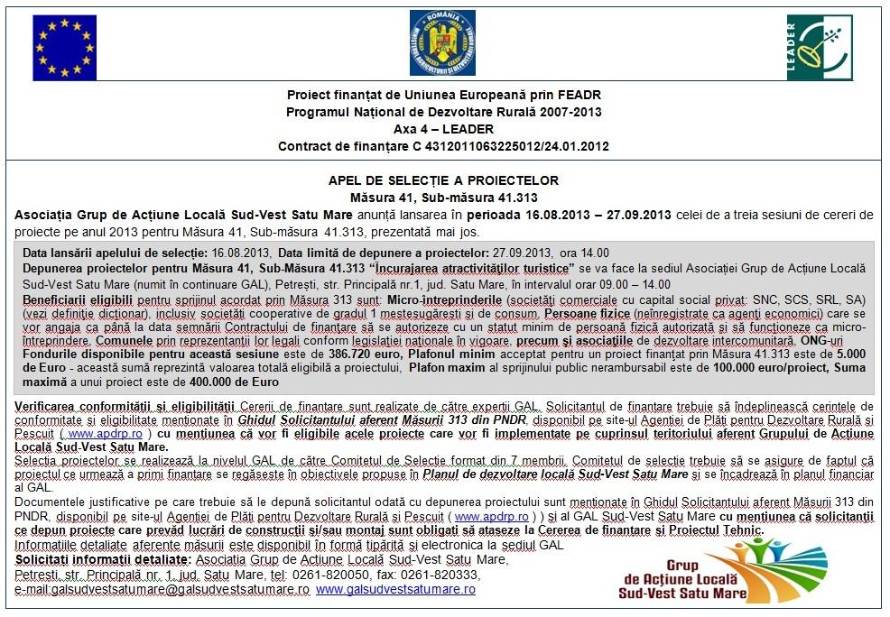 apel 313, GAL Sud-Vest Satu Mare