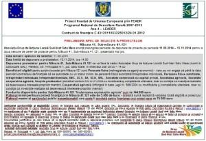 GAL Sud-Vest Satu Mare: Apel de prelungire a selecţiei proiectelor pe măsura 121