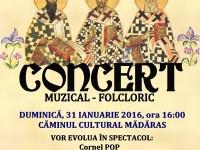 Concert muzical – folcloric la Căminul Cultural din Mădăras