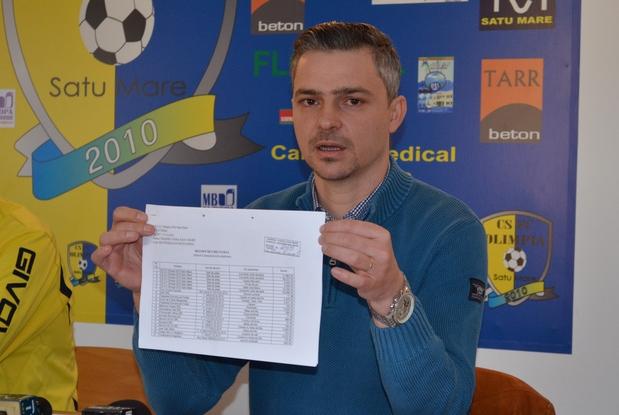 Dan Băbuț, președintele clubului Olimpia Satu Mare