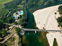 Veduta aerea del ponte di barche di Bereguardo