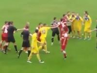Bătaie ca-n codru la meciul Târlungeni – Olimpia. Forțele de ordine au intervenit (VIDEO)