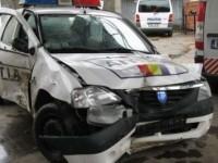 Accident. Maşină de poliție, lovită lângă Satu Mare. Vinovatul, sancționat și cu permisul suspendat