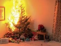 Un brad de Crăciun a luat foc la Satu Mare