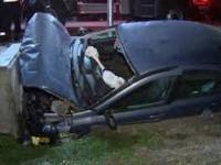 Accident produs de un tânăr beat. A intrat cu mașina într-un cap de pod